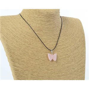 butterfly pendant necklace natural stone on waxed cord l49cm 71174