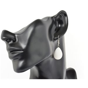 1p earrings natural stone on silver metal 71192