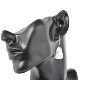 1p earrings natural stone on silver metal 71222