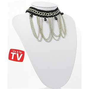 Collier Ras du Cou Chaines multirang Silver Collection Chic 71273
