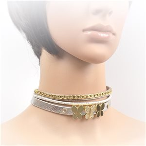 Necklace leather and rhinestone choker new collection 2017 2017 L32-40cm 71692