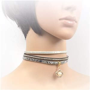 Necklace leather and rhinestone choker new collection 2017 2017 L32-40cm 71723