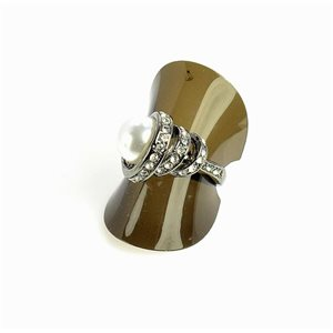Bague sertie de Strass Taille 57 métal anthracite New Collection 68681-4