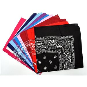 Lot de 12 Bandanas 10 couleurs 100% Coton 55x55cm New Collection 2017 72054