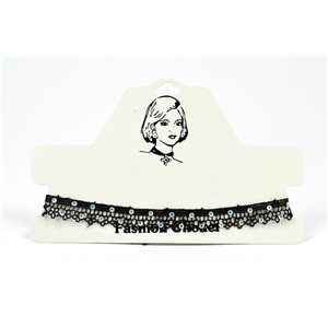 Choker Choker Necklace in Black Lace and Strass L33 / 38cm 72379