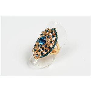 Adjustable Ring Full Strass on metal gold color New Collection 72730