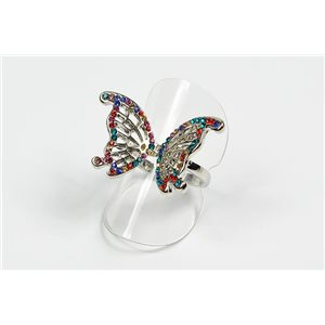 Adjustable ring Full Strass on metal silver color New Collection 72642