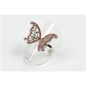 Adjustable ring Full Strass on metal silver color New Collection 72647