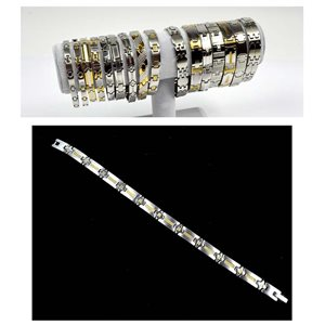 Stainless Steel Bracelet L20.5cm Steel and Gold Color New Collection 72764
