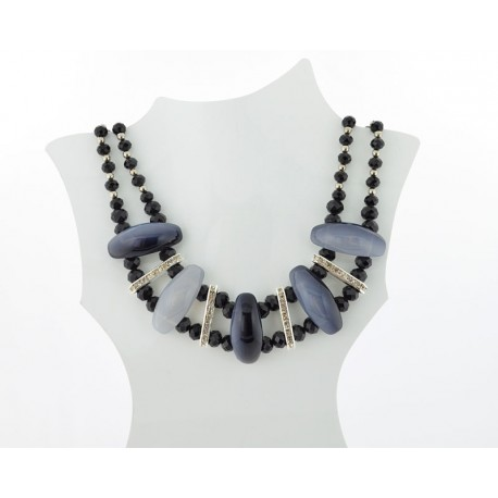 Necklace faceted Glass Beads Jewelry Rhinestones on L50cm 61396