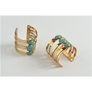 New Bracelet cuff TorK metal color gold Turquoise Fashion Chic 72950