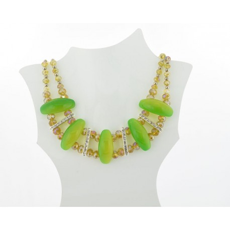Necklace faceted Glass Beads Jewelry Rhinestones on L50cm 61397