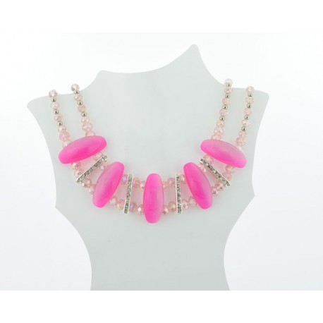 Necklace faceted Glass Beads Jewelry Rhinestones on L50cm 61398