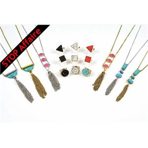 Set of 9 Adjustable Rings and 6 Necklaces Collection Reconstituted Stone 73301