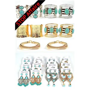 Lot of 10 Bracelet TORK Creation and 12p Earrings Rhinestones with Nail and Turquoise Jewelry 73302