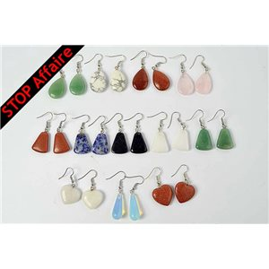 Lot of 12p Earrings Natural stone reconstituted on metal color silver 73295