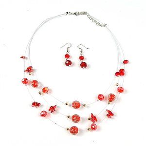 Parure Collier Suspension 3 Rang Mix de Perles Design 73387