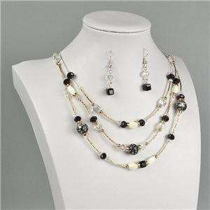 Parure Pendant Necklace 3 Range Mix of Pearls Design on metal twisted 73381