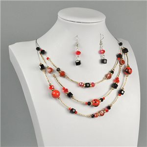 Parure Pendant Necklace 3 Range Mix of Pearls Design on metal twisted 73382