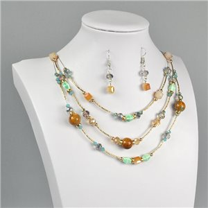 Parure Pendant Necklace 3 Range Mix of Pearls Design on metal twisted 73383