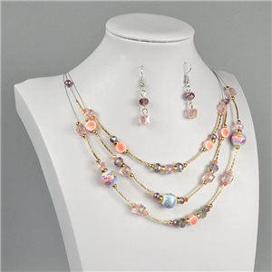 Parure Pendant Necklace 3 Range Mix of Pearls Design on metal twisted 73384