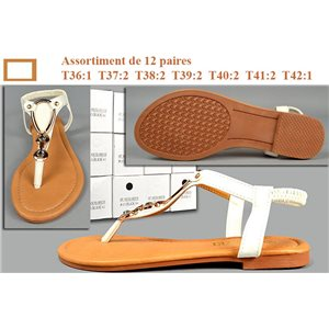 12p Flat Sandals with elastic strap 7 Sizes WHITE La Tropézienne to 5.80e piece 73396