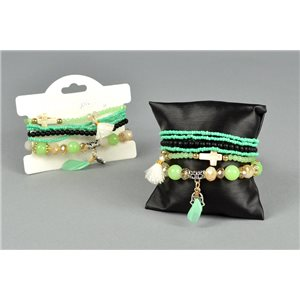 Bracelet CYBELE Manchette 6 rangs Collection Bead Charms et Bijoux sur fil élastic 73528