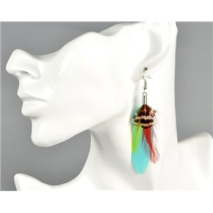 1p Boucles Oreilles à Plumes Collection Happy Colors 73799