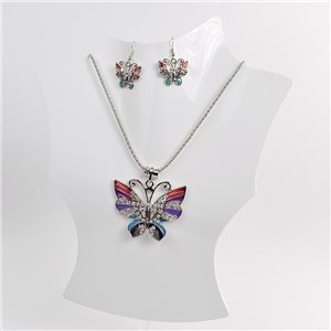 Necklace VISAGE enamels and rhinestone New Collection 2018 Winter Color 75007