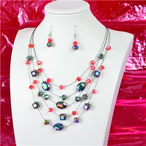 Parure Collier 5 rang Imitation de Pierres précieuses L44-48cm Collection Suspension 2018 75130