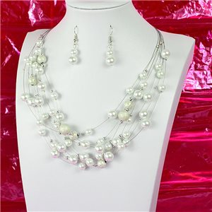 Parure Collier 7 rang Cascade imitation de Perles L44-48cm Collection Suspension 2018 75125