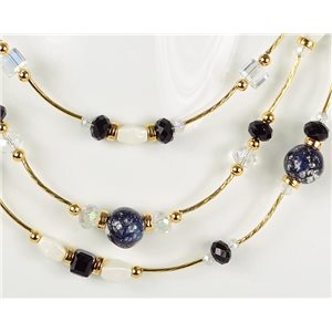 Adornment necklace 3 rows of pearls Chic on golden decoration L44-48cm Collection 2018 75119