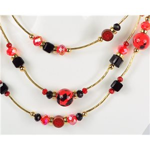 Adornment necklace 3 rows of pearls Chic on golden decoration L44-48cm Collection 2018 75120