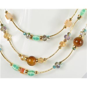 Adornment necklace 3 rows of pearls Chic on golden decoration L44-48cm Collection 2018 75122