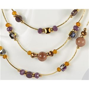 Parure necklace 3 rows of pearls Chic on golden decoration L44-48cm Collection 2018 75123