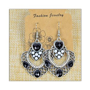 1p Earrings ATHENA silver plated metal set with Rhinestones New Ethnic Collection 75478