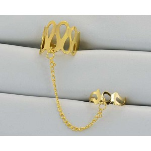 12 Double Rings Adjustable gold metal Phalanges 60974