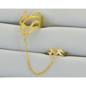 12 Double Rings Adjustable gold metal Phalanges 60976