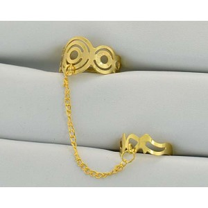 12 Double Rings Adjustable gold metal Phalanges 60979
