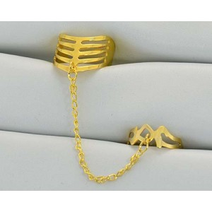 12 Double Rings Adjustable gold metal Phalanges 60980