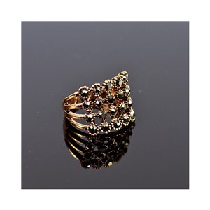 New Collection Bague métal réglable sertie de Strass couleur Or Rose 75640