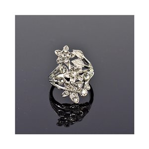 New Collection Adjustable Metal Ring Set with Silver Color Rhinestones 75646