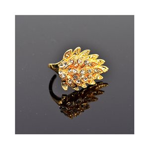 New Collection Adjustable metal ring set with golden color rhinestone 75659