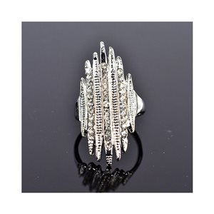 New Collection Adjustable Metal Ring Set with Silver Color Rhinestones 75666