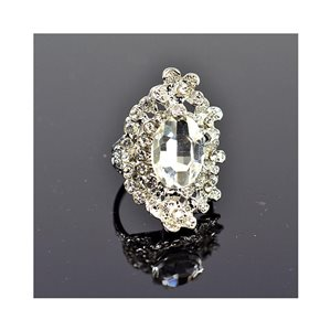 New Collection Adjustable Metal Ring Set with Silver Color Rhinestones 75670