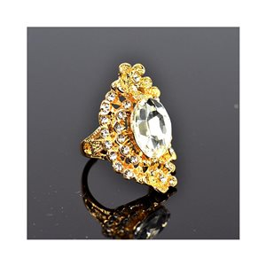 New Collection Adjustable metal ring set with golden colored rhinestone 75671