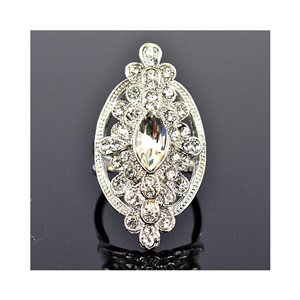 New Collection Adjustable metal ring set with silver colored rhinestones 75674