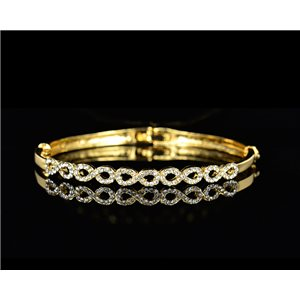 Bracelet métal couleur Doré Collection Chic sertie de Strass D55mm L18cm fermoir a clip 75520
