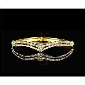 Bracelet métal couleur Doré Collection Chic sertie de Strass D55mm L18cm fermoir a clip 75532