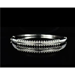 Bracelet métal couleur Argenté Collection Chic sertie de Strass D55mm L18cm fermoir a clip 75521